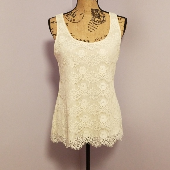 ba3a8cd0e881c1 Banana Republic Tops | Cream Lace Tank Top | Poshmark